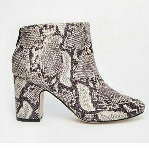 Asos Chunky Heel Snake Skin Boots